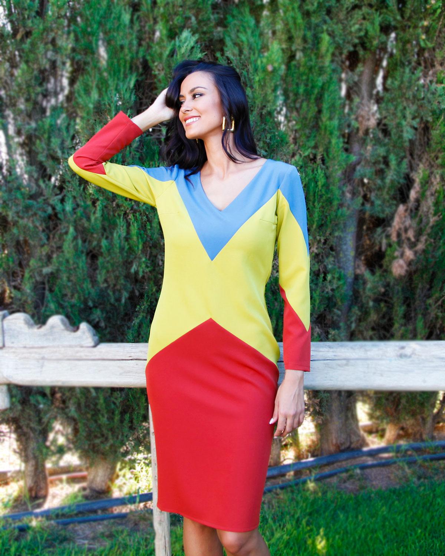 vestido-tricolor-escote-pico
